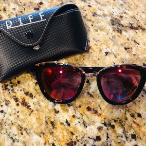 Diff Rose sunglasses with pink polarized lenses